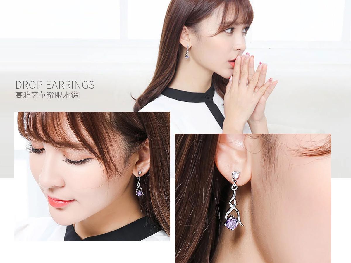 高雅奢華耀眼水鑽黏式耳環